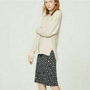 Loft Leopard Print Pencil Skirt Stretch Knit